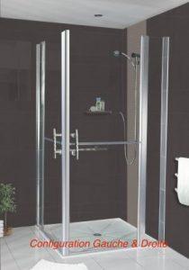 paroi de douche double battant avec panneau fixe sweetdom. Black Bedroom Furniture Sets. Home Design Ideas
