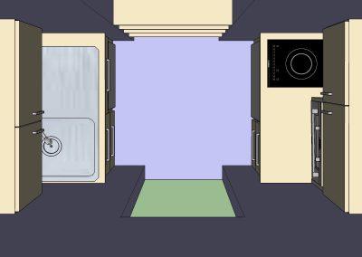 Une cuisine de 3 m2 rénovée pour un Senior